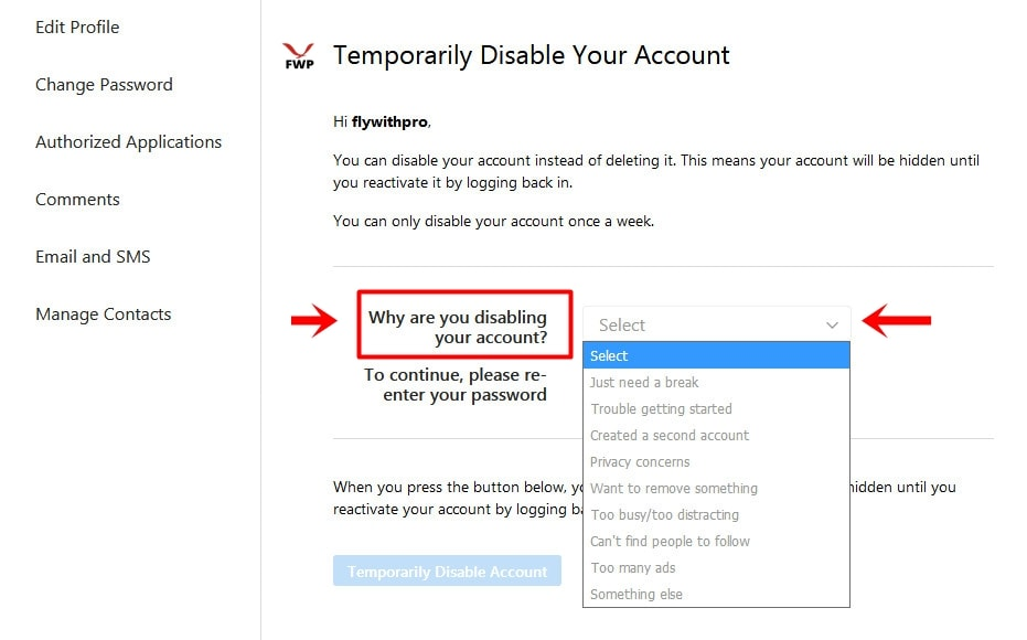 Disable Instagram Account